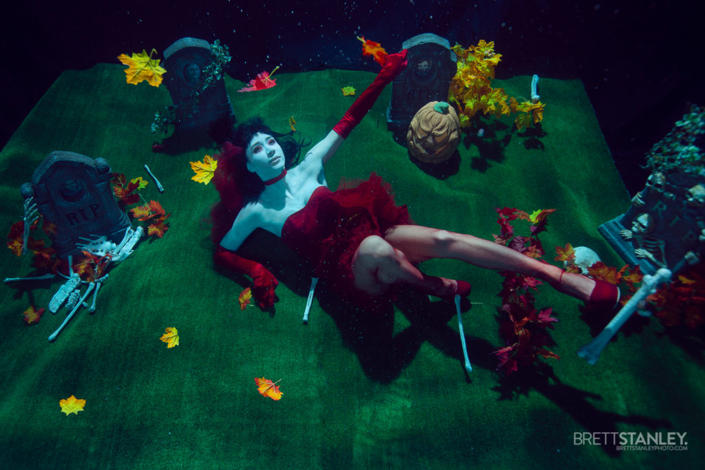 Underwater halloween set with a posing model