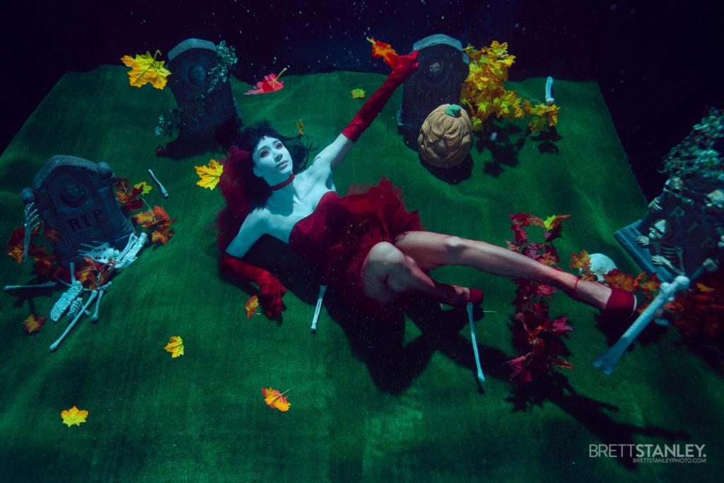 Underwater halloween set with a posing model